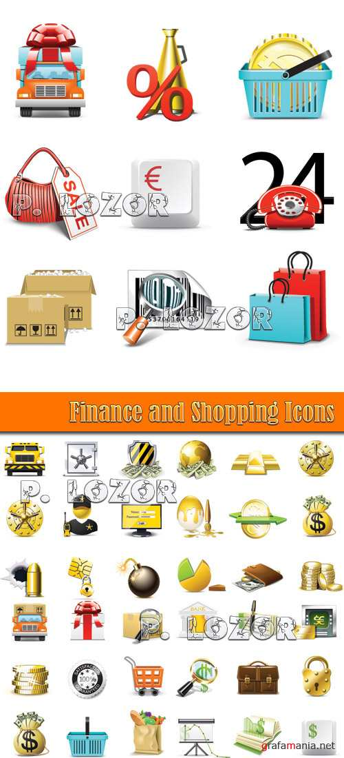 Finance and Shopping Icons - Stock Vectors