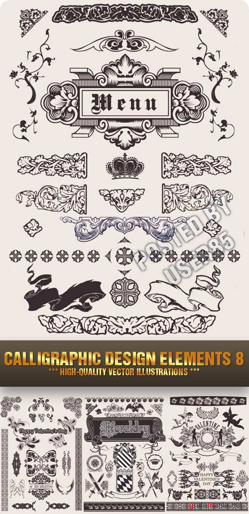 Stock Vector - Calligraphic Design Elements 8