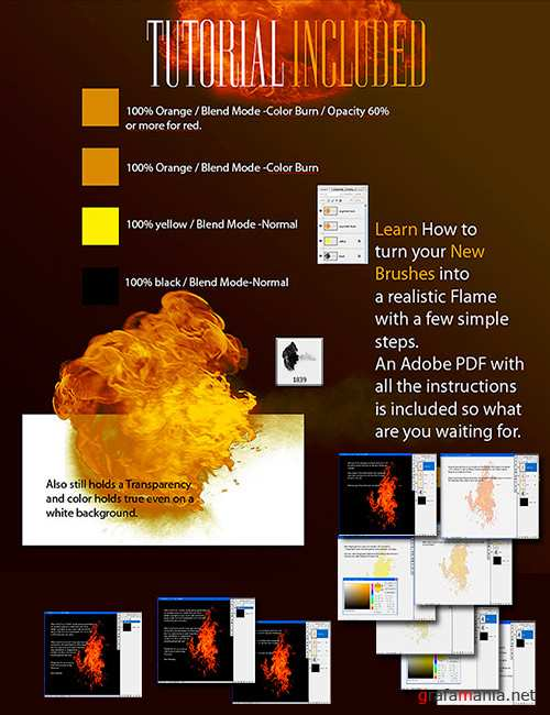40 High-resolution Photoshop brushes of flames and fire.
