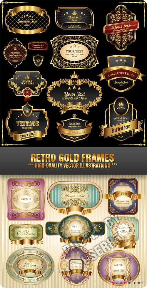 Stock Vector - Retro Gold Frames