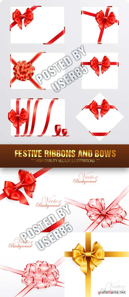 Stock Vector - Festive Ribbons and Bows