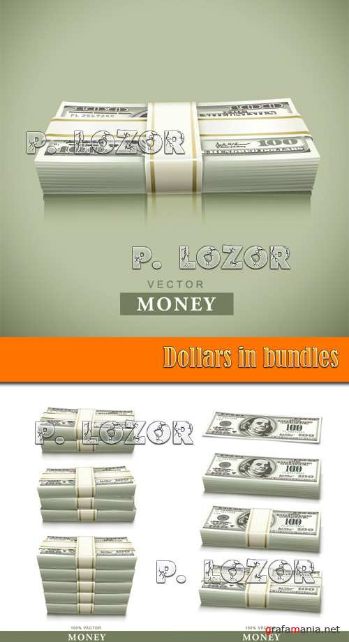 Dollars in bundles - Stock Vectors
