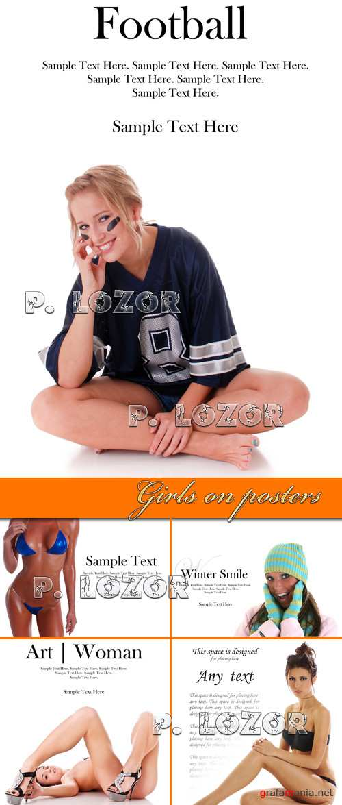 Girls on posters - Stock photos