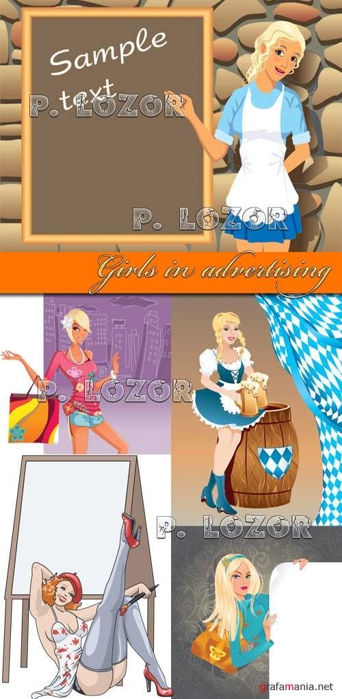 Girls in advertising - Stock Vectors