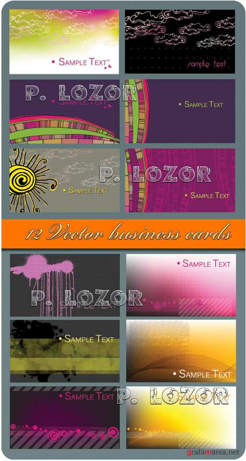 12 Vector Business Cards - Stock Vectors