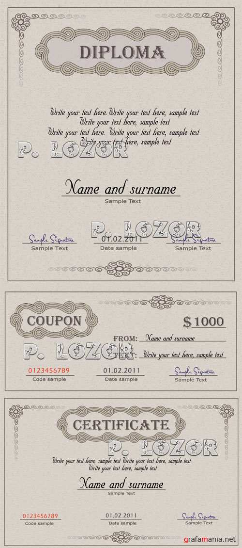 Diploma certificate, and coupon