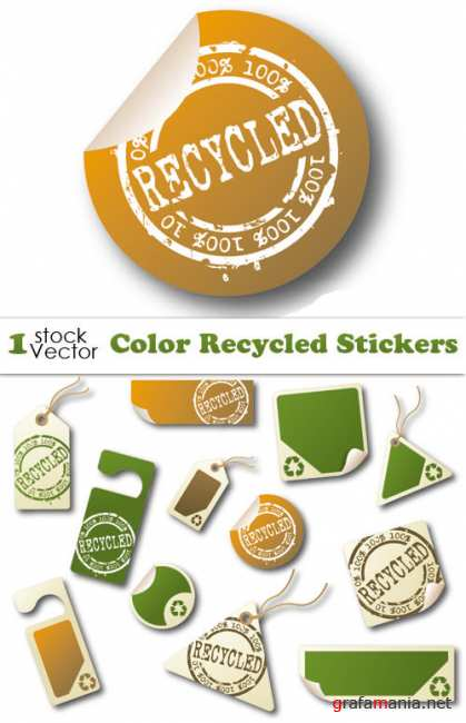 Color Recycled Stickers Vector