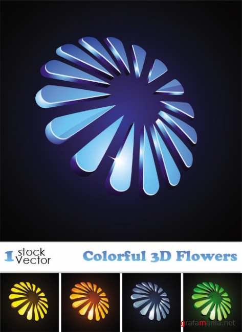 Colorful 3D Flowers Vector