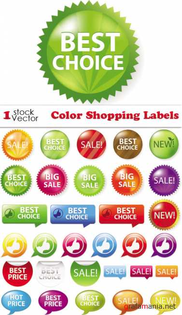 Color Shopping Labels Vector