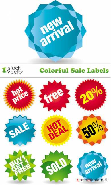 Colorful Sale Labels Vector