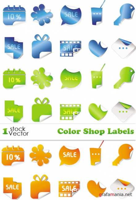 Color Shop Labels Vector