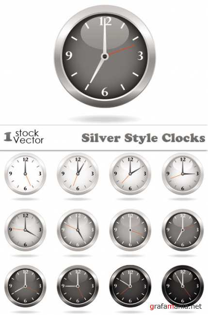 Silver Style Clocks Vector