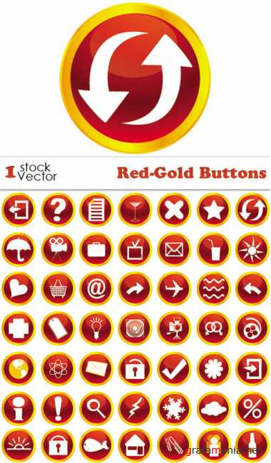 Red-Gold Buttons Vector