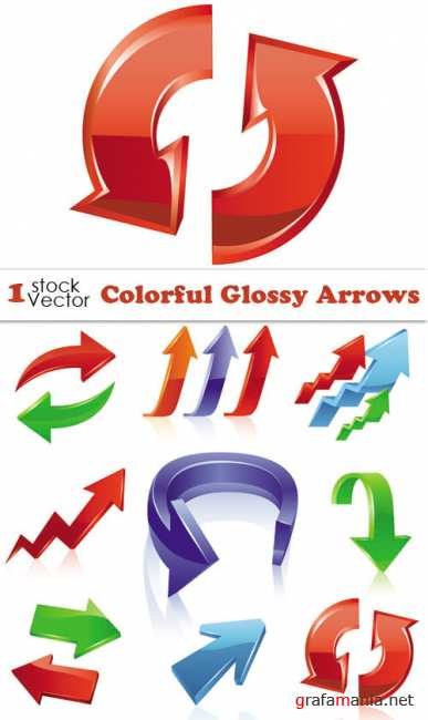 Colorful Glossy Arrows Vector