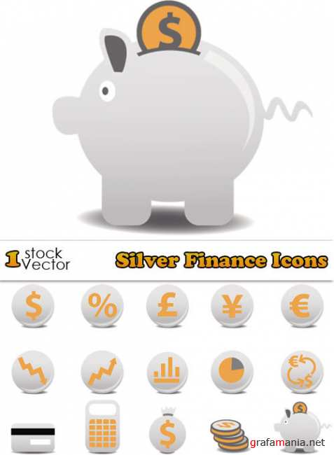 Silver Finance Icons Vector
