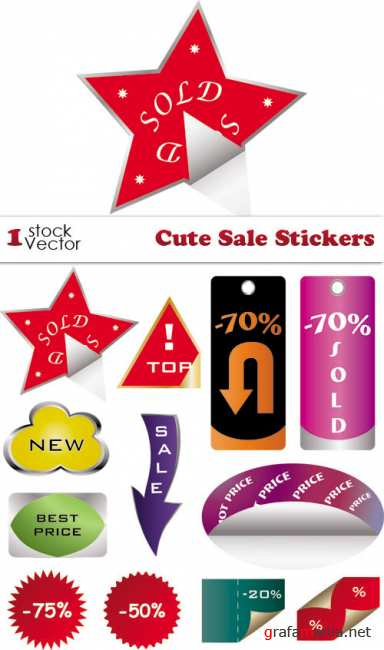 Cute Sale Stickers Vector