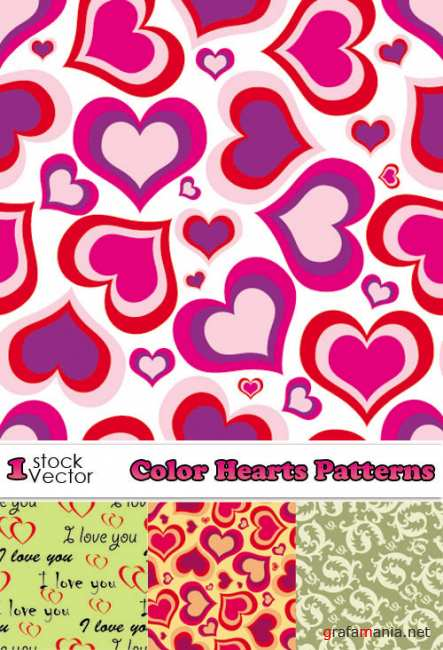 Color Hearts Patterns Vector