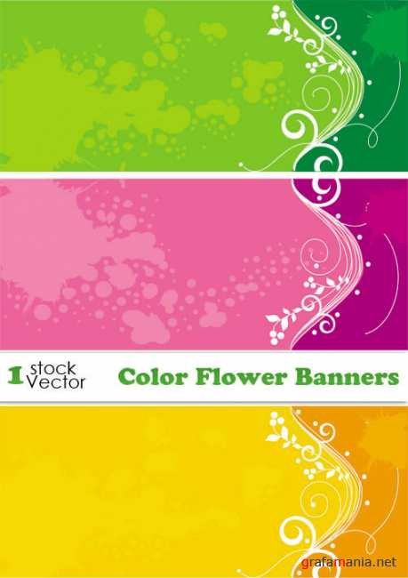 Color Flower Banners Vector