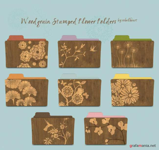 Woodgrain Stamped Flower folders