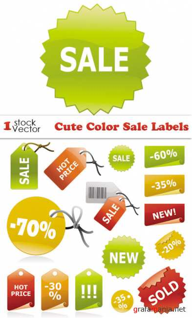 Cute Color Sale Labels Vector