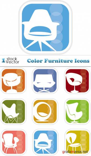 Color Furniture Icons Vector