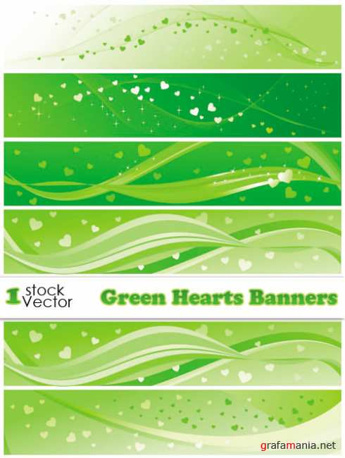Green Hearts Banners Vector