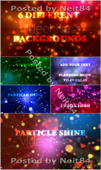 Footage motion Particle Shine with 6 Different Backgrounds Loop