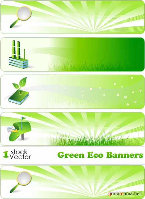 Green Eco Banners Vector