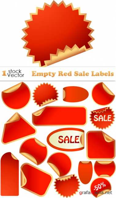 Empty Red Sale Labels Vector