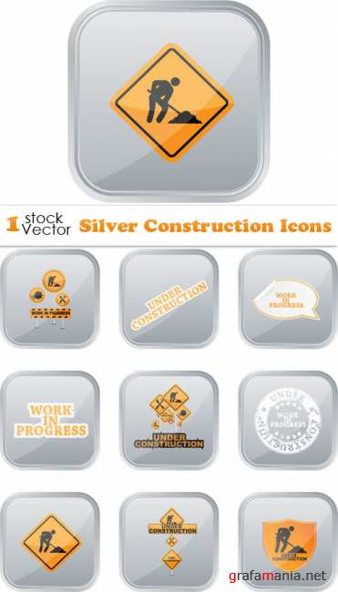 Silver Construction Icons Vector