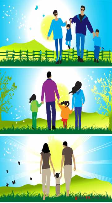 Vector stock Happy family walks on nature