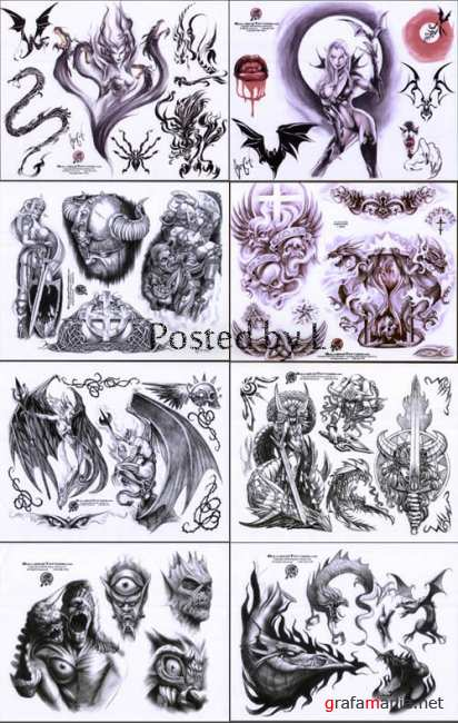 Bullseye monster collection Tattoo Flash Set 1, 2