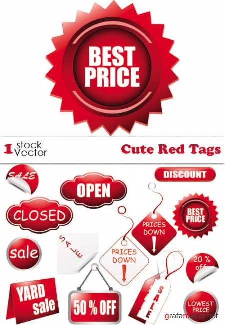 Cute Red Tags Vector
