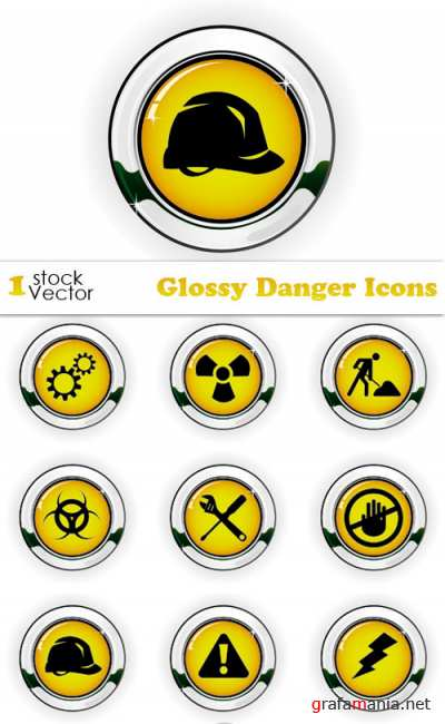 Glossy Danger Icons Vector