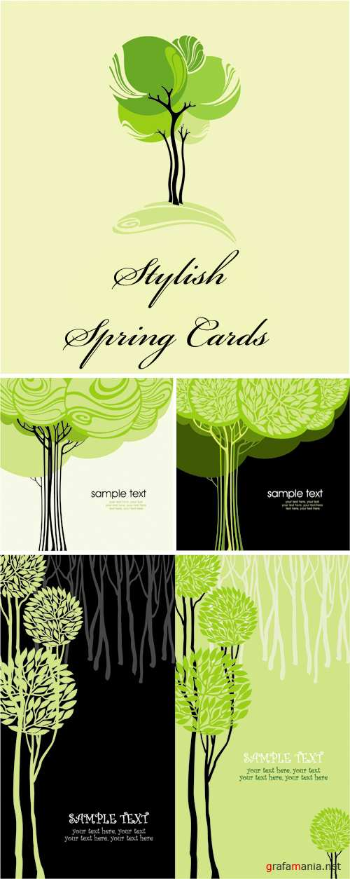 Stylish Spring Cards Vector