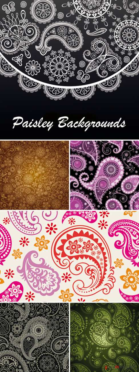 Abstract Paisley Backgrounds Vector