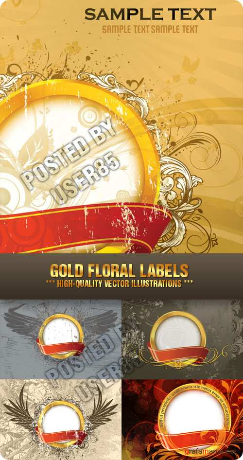 Stock Vector - Gold Floral Labels