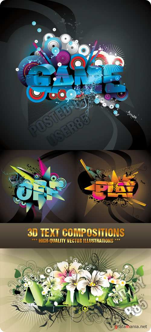 Stock Vector - 3D Text Compositions