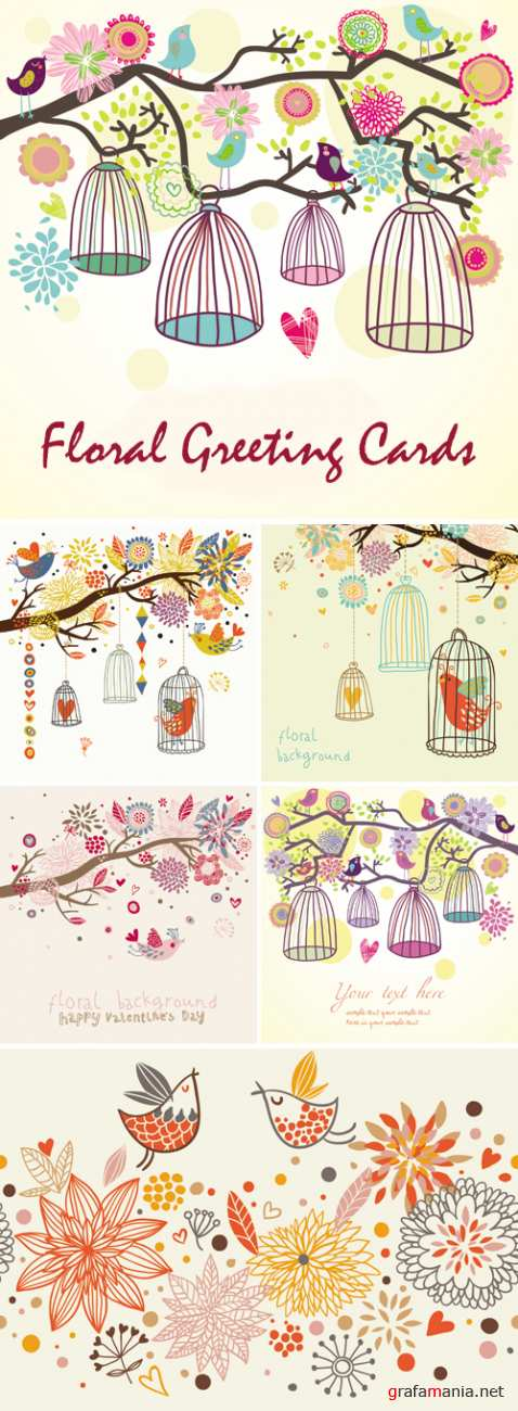 Floral Greeting Cards with Birds