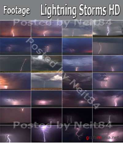 Footage Lightning Storms on Sky HD