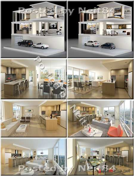 3D models modern Interiors Living rooms and Full House