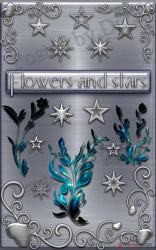 Flowers and stars brushes
