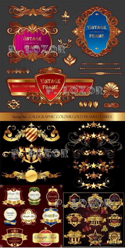 Gold sticker and design elements
