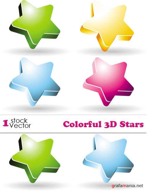 Colorful 3D Stars Vector