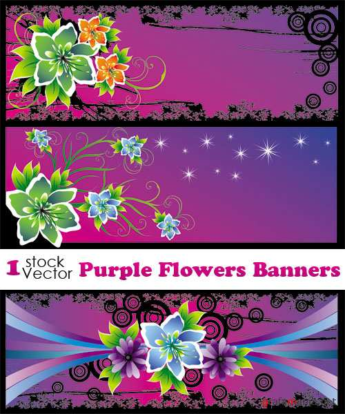 Purple Flowers Banners Vector