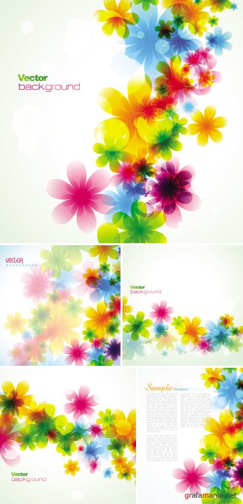 Spring Floral Cards Vector