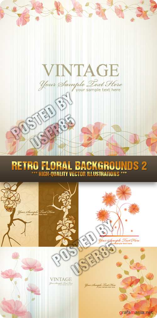 Stock Vector - Retro Floral Backgrounds 2