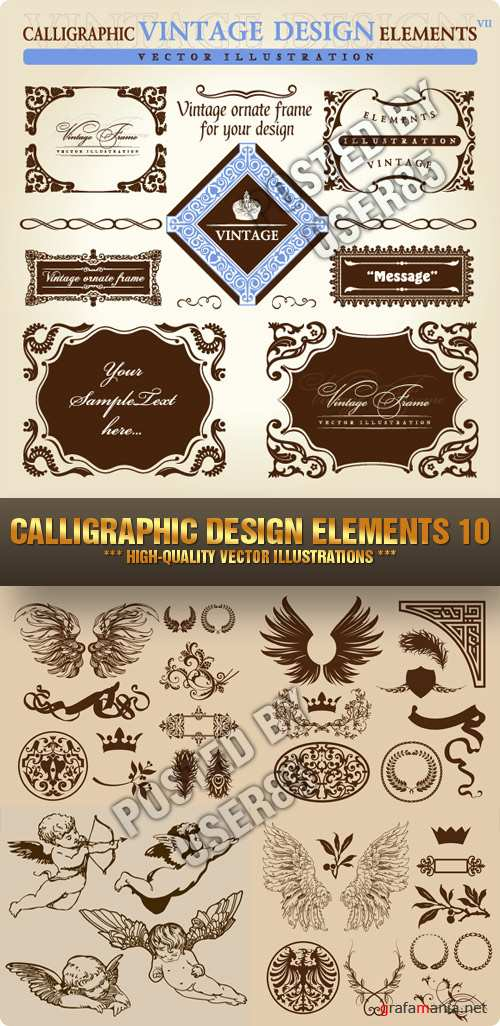 Stock Vector - Calligraphic Design Elements 10