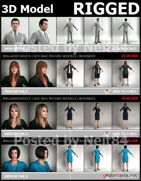 3D models of people AXYZ Metropoly HD evo2 3D MAX Rigged Models