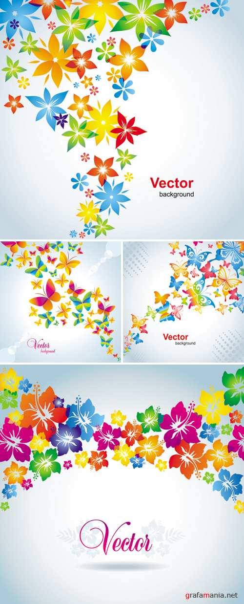 Spring Floral Cards Vector 2
